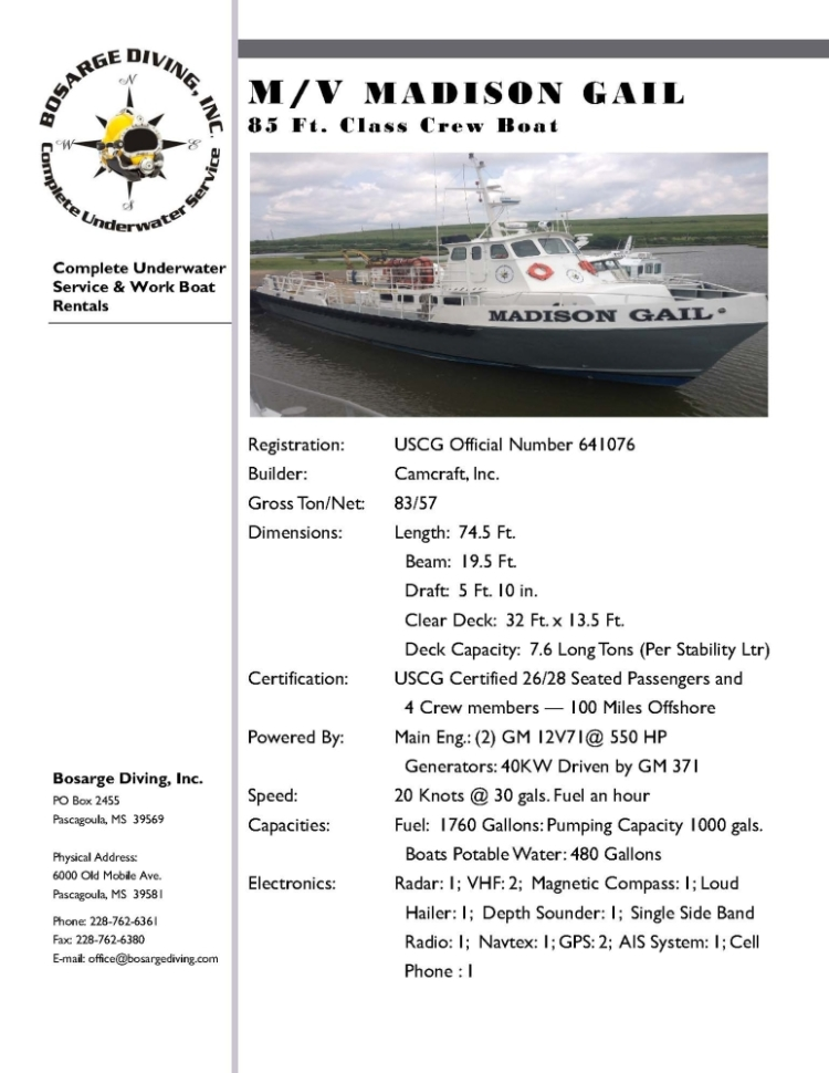 MV Madison Gail Spec Sheet